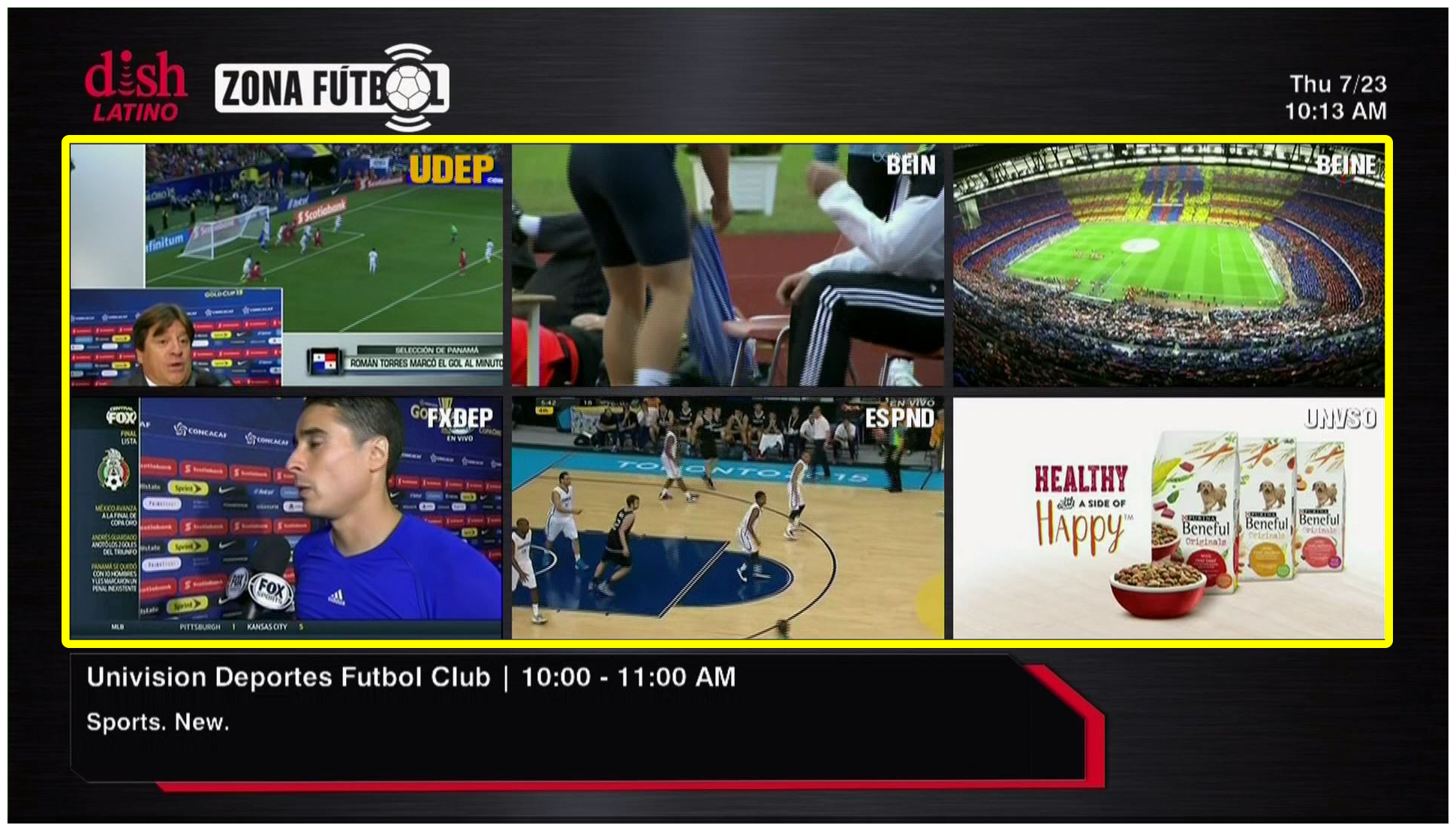 Grid of 6 live sports programs (Use the remote control to move through the grid of menu options.)
