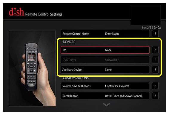 list of available devices (use the remote to move up and down through the list of options)