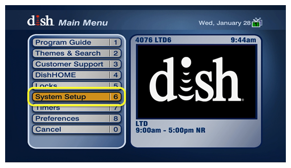 System Setup - menu option #6