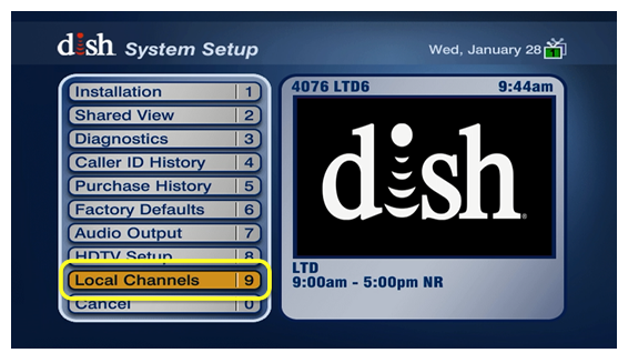 Local Channels - menu option #9