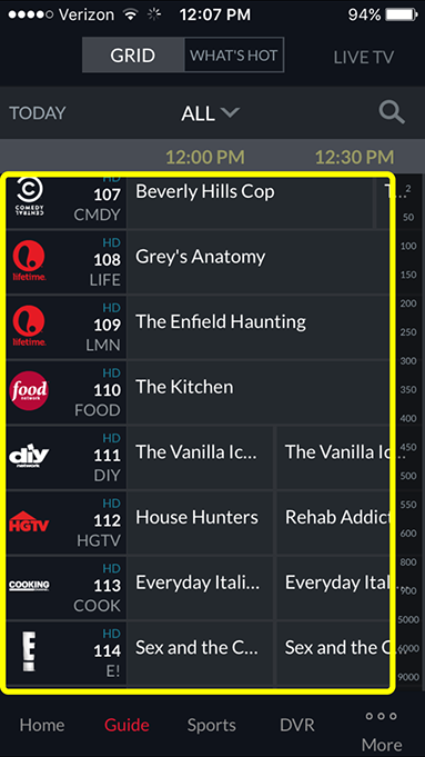 channel guide in DISH Anywhere phone app