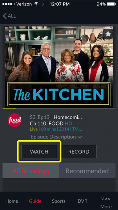 watch button on a program's detail page in the DISH Anywhere phone app