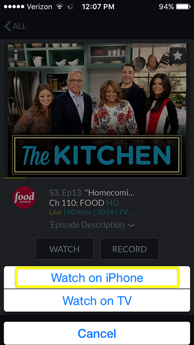 Watch on iPhone or Watch on TV prompt in the DISH Anywhere phone app