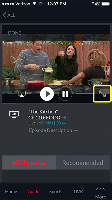 full screen icon on video player in the DISH Anywhere phone app