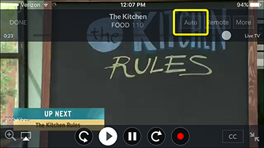 Video mode button, currently set to Auto, in the DISH Anywhere phone app