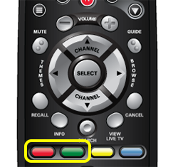 Red and Green color buttons on 40.0 remote (two left buttons in a row of four buttons in the middle of the remote)