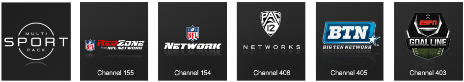 Multi-Sport channels include NFL RedZone, NFL Network, Pac-12 Networks, Big Ten Network, and ESPN Goal Line