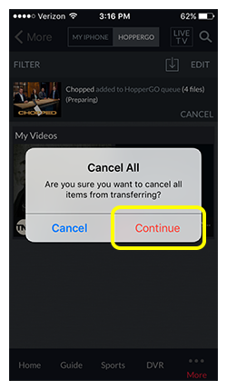 Continue button in confirmation prompt asking if you want to cancel all items from transferring