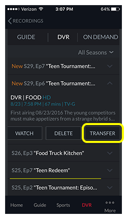HopperGO button on recorded episode on dishanywhere.com