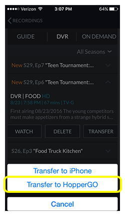 Button to transfer to HopperGO on dishanywhere.com