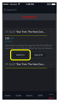 Watch button for selected program in the DISH Anywhere phone app