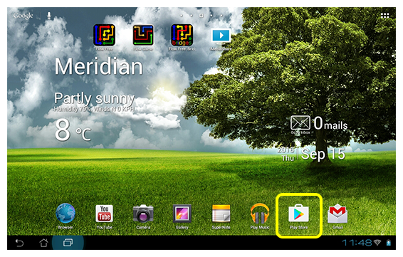 Google Play Store icon on Android tablet home screen