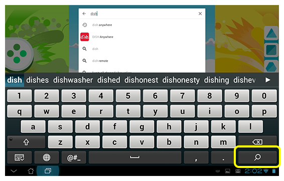 Search bar showing results for DISH Anywhere app in Google Play Store