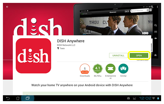Button to open DISH Anywhere app