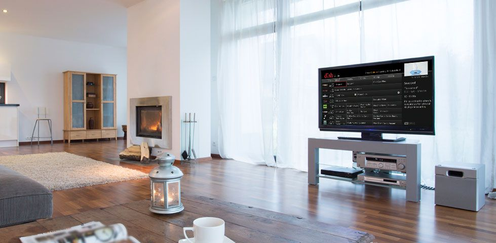 Living room with DISH guide on the TV
