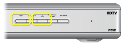 channel buttons on front of receiver