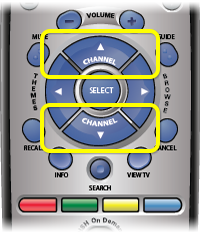 Channel buttons on 40.0 remote