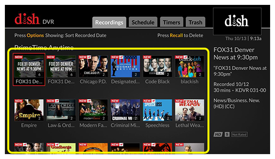 Grid of Primetime Anytime options (Use the remote control to move through the grid of menu options.)
