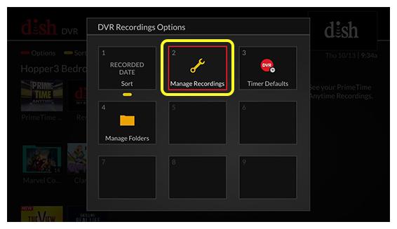 DVR recording options (use the remote to move through the grid of menu options)