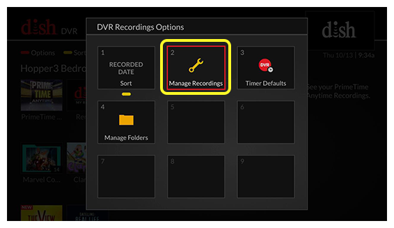 Gride of DVR Recordings Options (Use the remote control to move through the grid of menu options.)