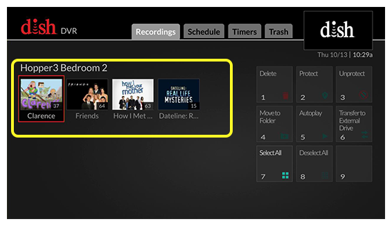 Grid of recordings on the left with a grid of menu options on the right (use the remote control to move through the grid of menu options.)