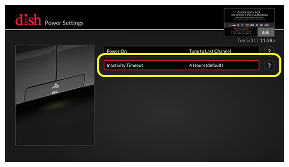list of power settings options (use the remote to move up and down through the list of options)