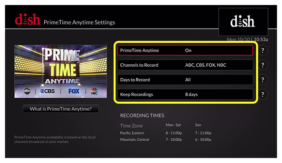 list of primetime anytime settings options (Use the remote control to move up and down through the list of options.)