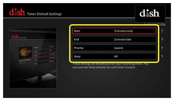 list of timer default settings options (Use the remote control to move up and down through the list of options.)