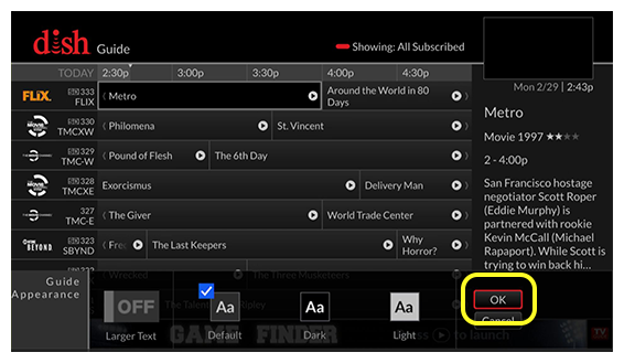 program guide with guide appearance menu open (Scroll left or right until ok is selected.)