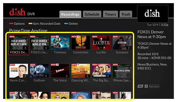 Grid of PrimeTime Anytime programs (Use the remote control to move through the grid of menu options.)