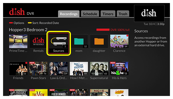 Grid of DVR menu options (Use the remote control to move through the grid of menu options.)