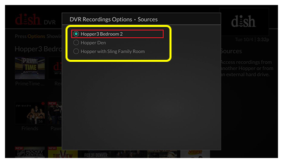 List of source options (Use the remote control to move up and down through the list of options.)