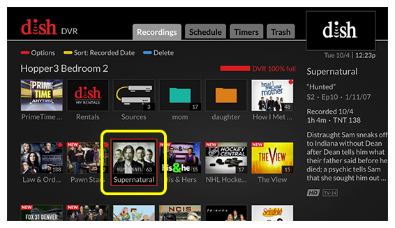 Grid of DVR content (use the remote to move through the grid of options)