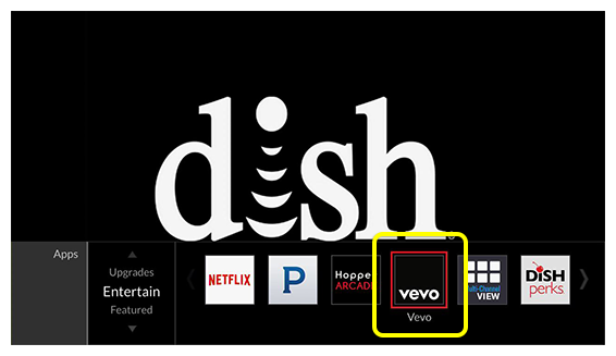Vevo icon in Apps menu (use the remote to scroll left and right)
