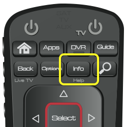 Info button on 52.0 DISH remote