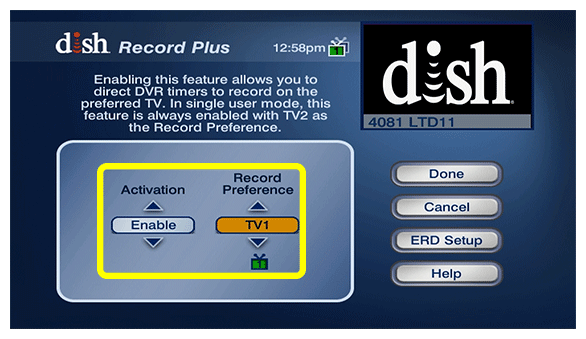 options to set whether this feature is enabled or disabled, as well as your preference for which TV to record on
