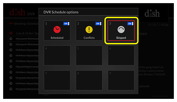 Grid of DVR Schedule options (use the remote to move through the grid of menu options)