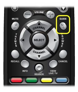 Guide button on 40.0 remote (third button down on the right side of the remote, with 2 raised dots.)
