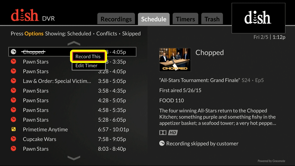 List of recording options (use the remote to move up and down through the list of options)