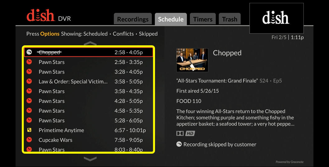 List of programs (use the remote to move up and down through the list of options)