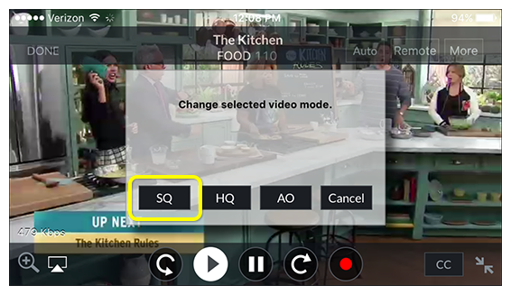 video quality setting on DISH Anywhere