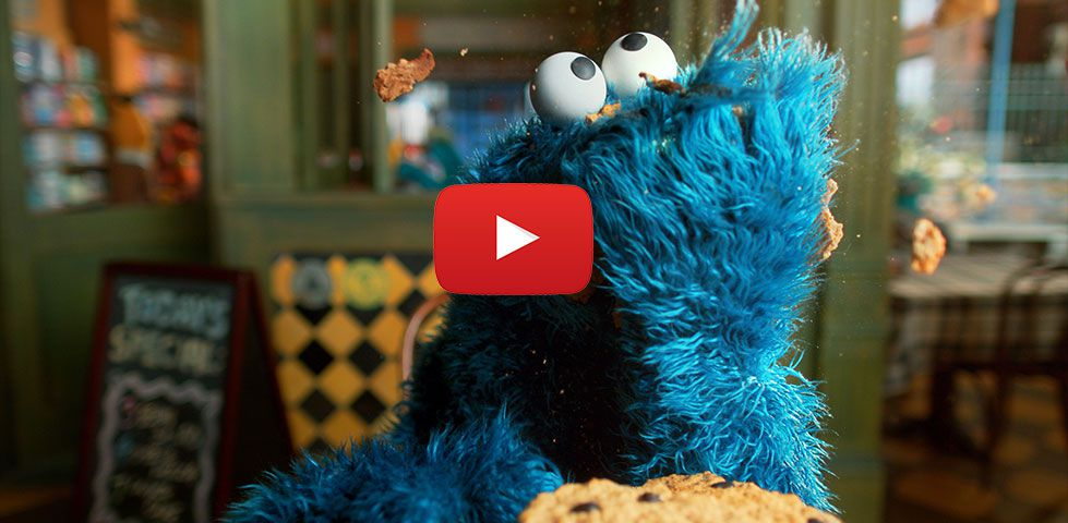 Cookie Monster, on Sesame Street