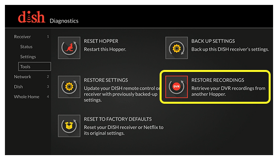 Restore Recordings selected from the receiver diagnostics tools menu (use the remote to move through the grid of menu options)