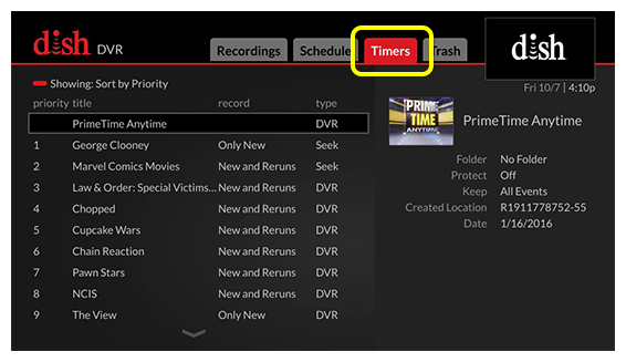 DVR menu (Use the skip forward button, located one button to the right of the DVR button, to move through the tabs)