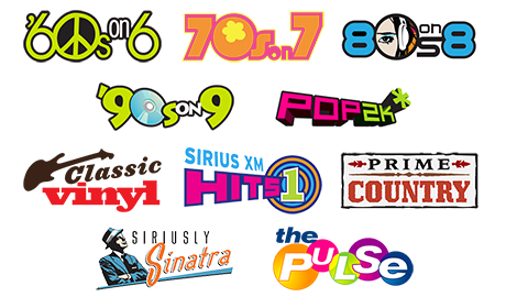 Includes channels like 60s on 6, 70s on 7, Pop 2K, Classic Vinyl, Prime Country, Seriously Sinatra, and The Pulse, plus lots more