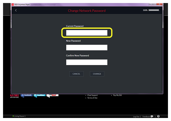 Current Network password field