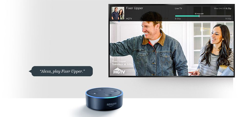 Amazon Echo Dot in front of TV showing Fixer Upper