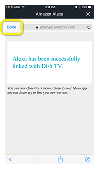 Done button at top left of Alexa app
