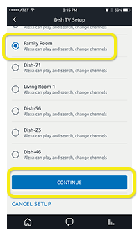 List of available DISH receivers shown in Alexa app, and Continue button