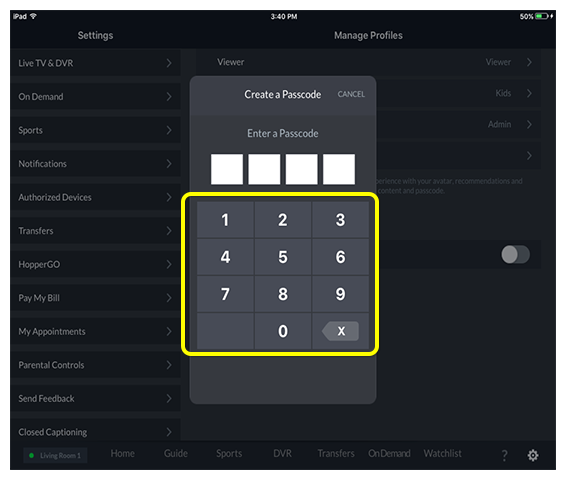 Number pad to enter parental control password in DISH Anywhere tablet app
